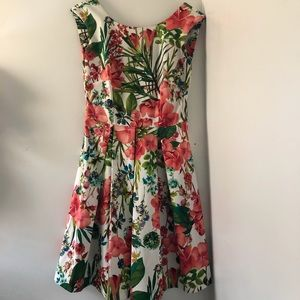 tropical floral pink & green danny & nicole dress